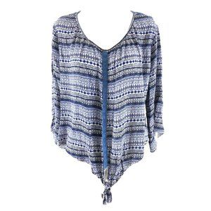 Live and Let Live Womens Top Boho Crochet L